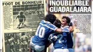 O jornal L'Equipe retraça a vitória da França sobre o Brasil na Copa de 86.