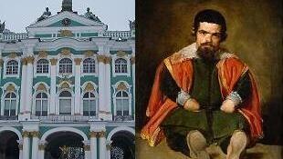 Здание Государственного Эрмитажа и портрет шута Дона Себастьяна де Морра кисти Веласкеса из собрания Прадо