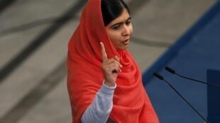 Malala Yousafzai au moment de la réception de son prix Nobel de la paix, le 10 décembre 2014.
