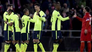 Os jogadores do Sporting de Braga festejam a vitória por 2-1 frente ao Sion.
