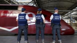 Belgian police at the train station in Brussels, 22 August 2015, the day after the attack foiled on the Amsterdam-Paris train.