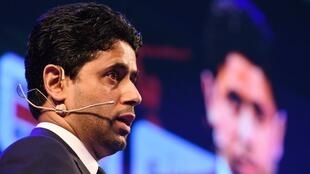 Paris Saint-Germain F.C. President Nasser Al-Khelaifi speaks during the launch of a strategic partnership between PSG and China's Desports, at the Soccerex China convention in Zhuhai, in China's southern Guangdong province on April 18, 2018.