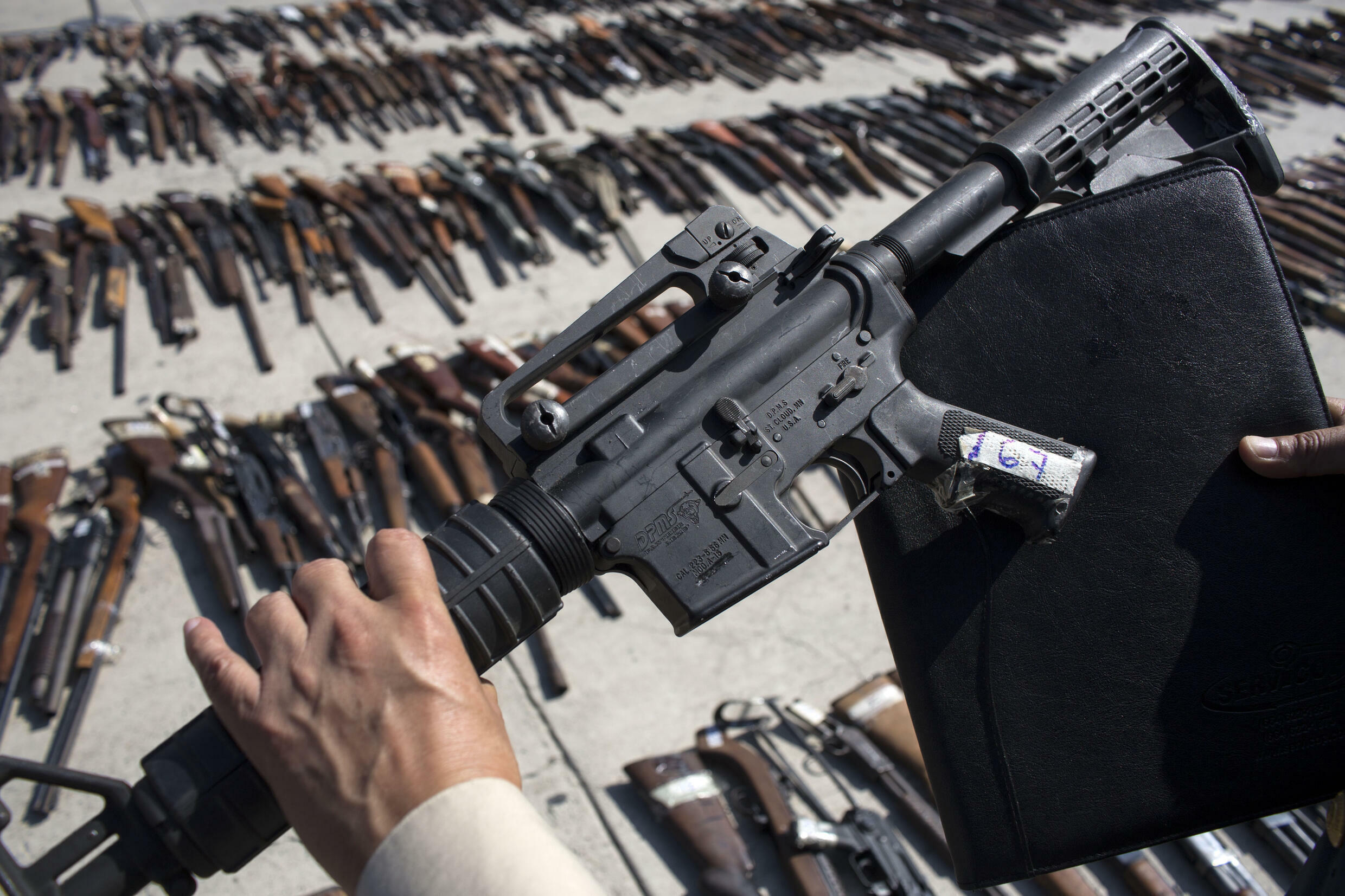 Seized weapons are seen at a Mexican military base in the border city of Tijuana before being destroyed