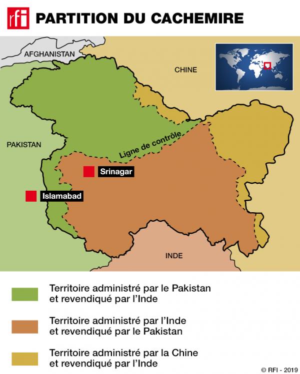 Bản đồ phân bố vùng Cachemire: Màu nâu thuộc quyền quản lý của Ấn Độ; Xanh thuộc Pakistan, vàng thuộc Trung Quốc.