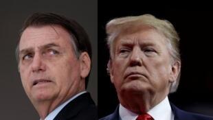 Hình ghép tổng thống Brazil Jair Bolsonaro (T) và nguyên thủ Mỹ Donald Trump.