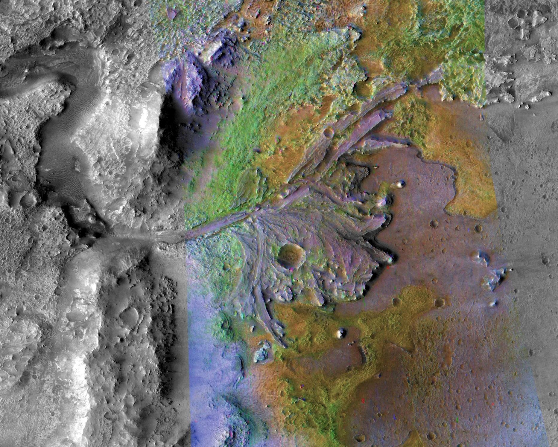 Le cratère Jezero sur Mars identifié comme un site d'atterrissage potentiel pour le Mars 2020 Rover, dans cette image en fausses couleurs prise par Mars Reconnaissance Orbiter de la NASA / JPL-Cal