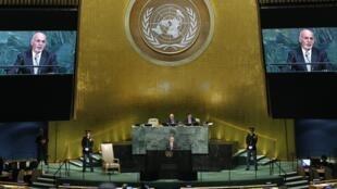 محمداشرف غنی، رییسجمهوری أفغانستان، در سخنرانی خود در نشست سالانه مجمع عمومی سازمان ملل متحد
