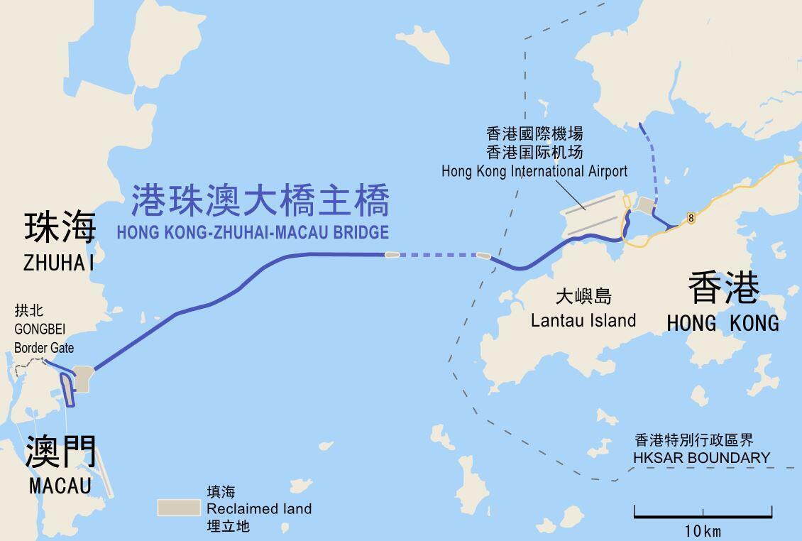 港珠澳大桥高铁与海下隧道线路示意图。