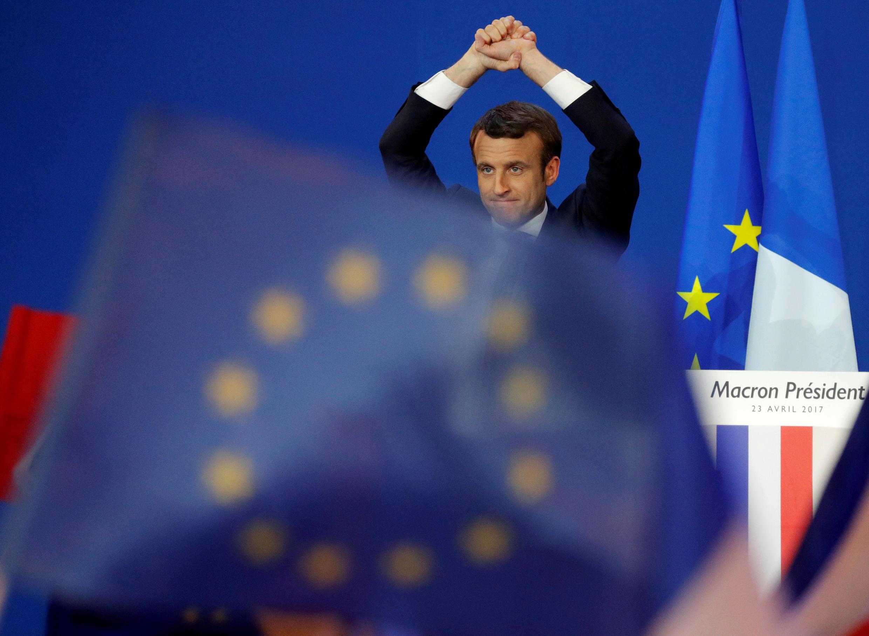 Mít tinh của ứng viên Emmanuel Macron, sau kết quả vòng đầu, tối 23/04/2017.