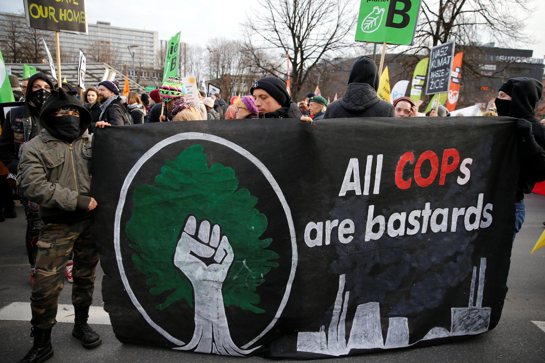 Manifestación en las calles de Katowice, Polonia, donde tiene lugar la COP24. 8 de diciembre de 2018.
