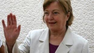 Mairead Maguire, en la Corte suprema de Jerusalén, el 4 de octubre de 2010.