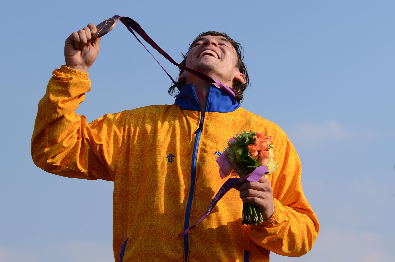 Bicicrosista colombiano, Carlos Mario Oquendo, medalla de bronce en los Juegos Olímpicos de Londres 2012.