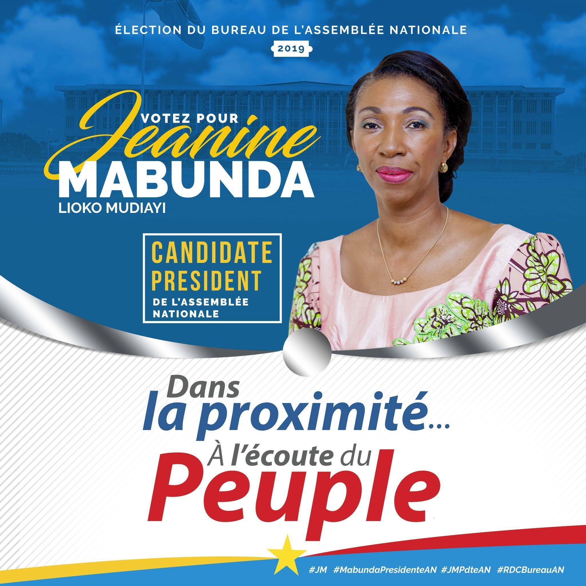 Bango la Bi. Jeanine Mabunda wakati wa kampeni yake akiwania uspika wa Bunge la DRC.