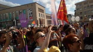 Lors de la manifestation «loud and united», à Bruxelles.