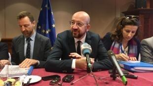 Charles Michel (c), président du Conseil européen à Addis-Abeba, le 10 février 2020.