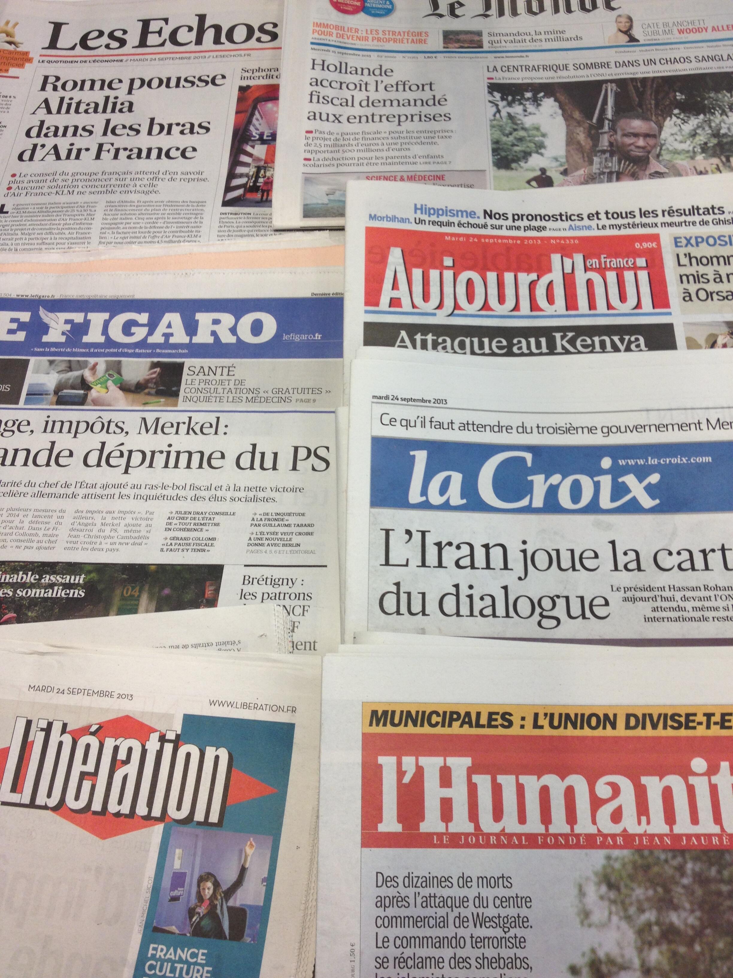 Diários franceses 24-09-2013