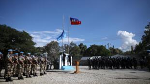 Lors de la cérémonie de mise en place de la Minujusth, le 16 octobre 2017 à Port-au-Prince.