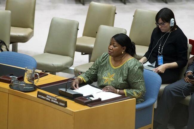 Mwendhesha mashtaka mkuu wa mahakama ya ICC, Fatou Bensouda akiwa kwenye moja ya vikao vya baraza la usalama la Umoja wa Mataifa, UN