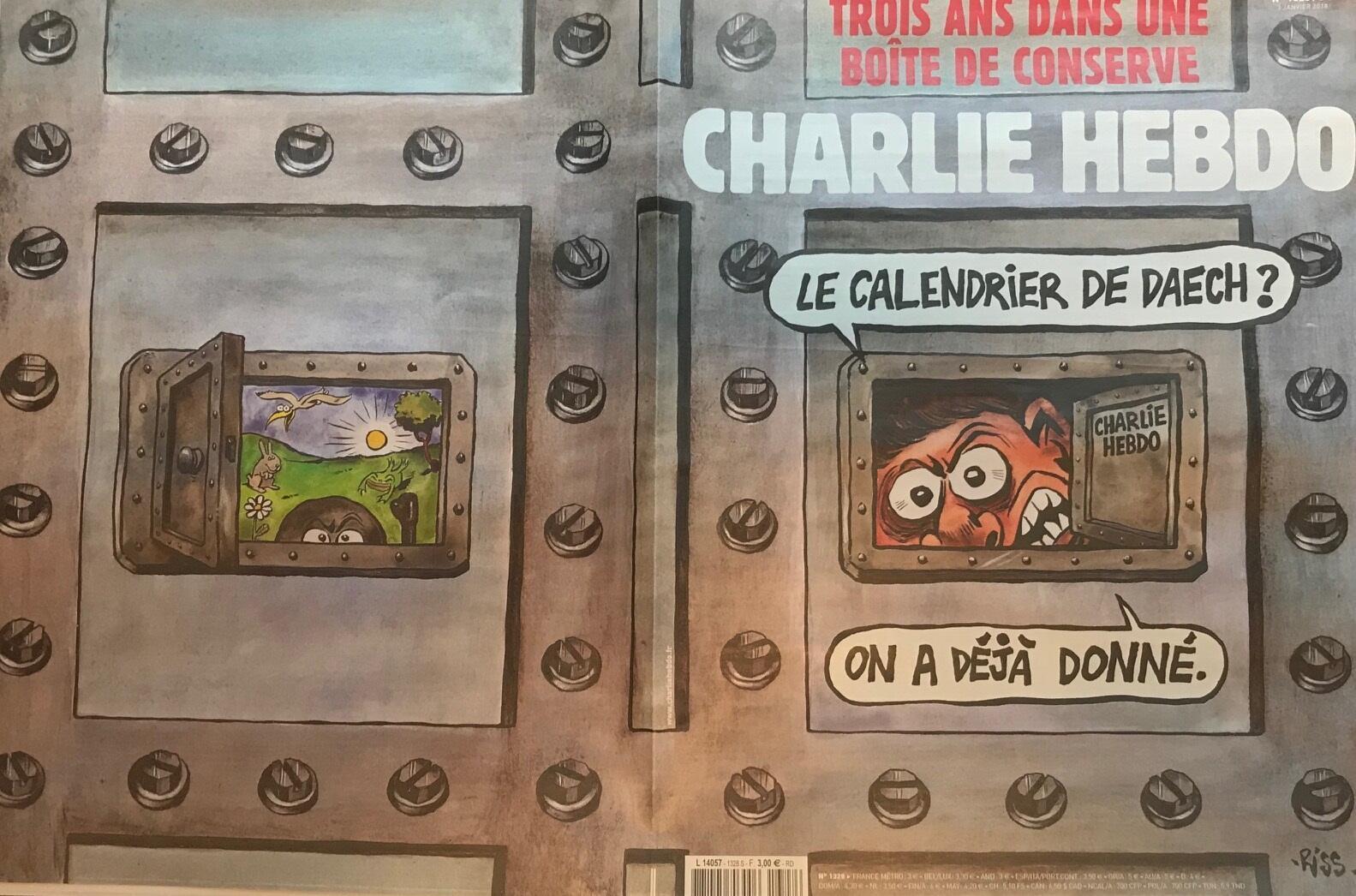 Primeira página do semanário satírico Charlie Hebdo de 3 janeiro, três anos após os atentados terroristas
