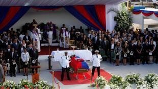 Obsèques de l'ex-président haitien René Préval, le 11 mars 2017 à Port-au-Prince.