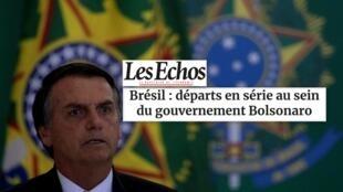 """Matéria do jornal Les Echos desta terça-feira, 18 de junho de 2019, analisa """"as demissões em série do governo Bolsonaro""""."""