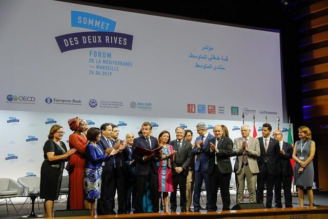 President Emmanuel Macron with 10 civil society representatives and 10 foreign affairs ministers of the Western Mediterranean at the end of the Summit of the Two Shores in Marseille.