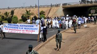 Une manifestation d'habitants de Ménaka à Bamako, le 2 mai 2015.