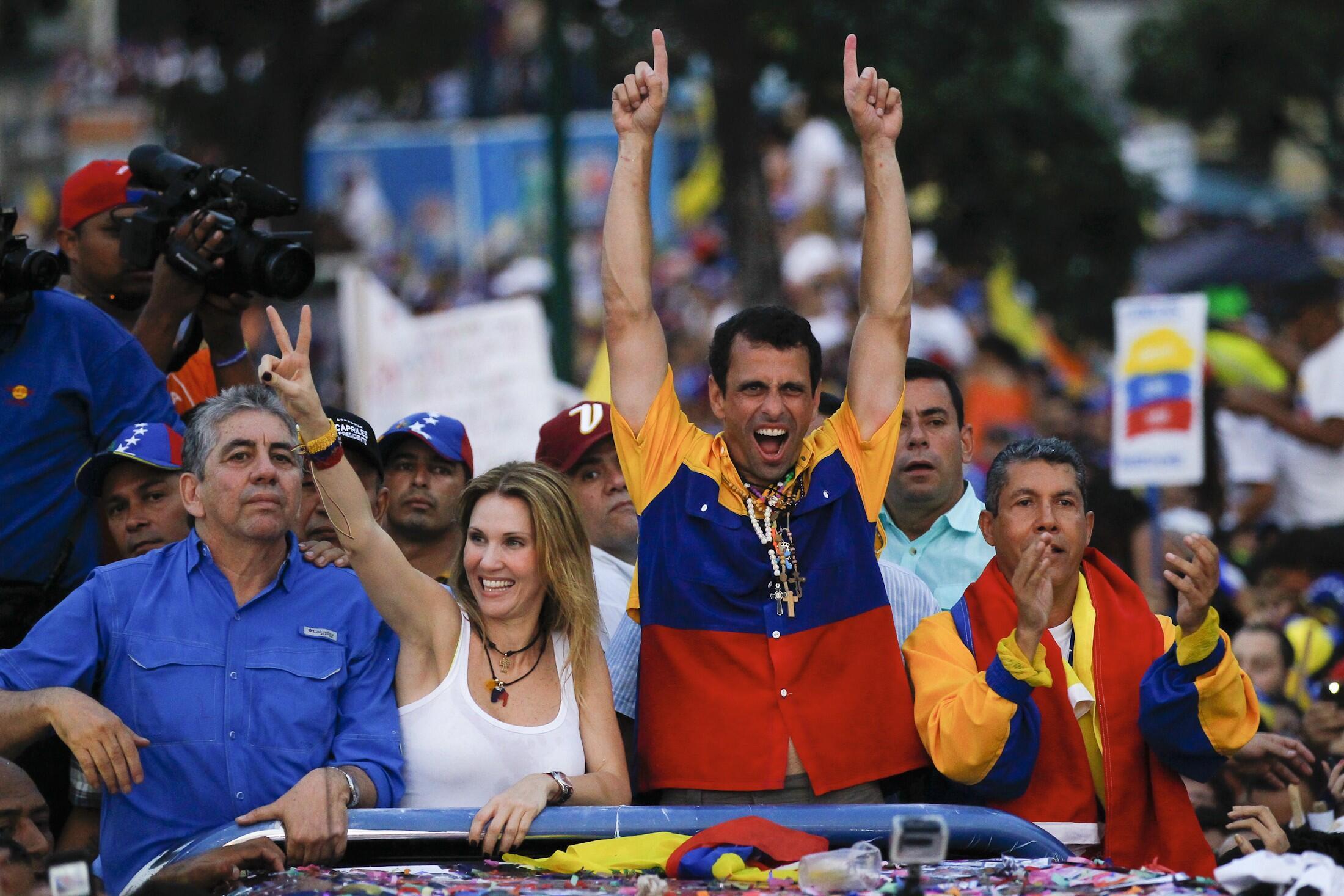 Henrique Capriles lors d'un meeting, le 11 avril 2013.