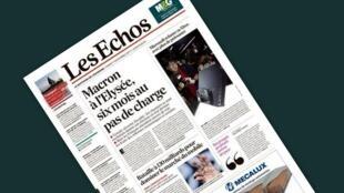 A manchete do jornal francês Les Echos desta terça-feira, 7 de novembro de 2017, é os seis meses do presidente Emmanuel Macron no poder.