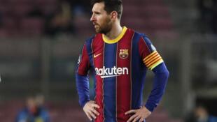 Dan wasan Barcelona Lionel Messi yayin fafatawarsu da PSG a Camp Nou
