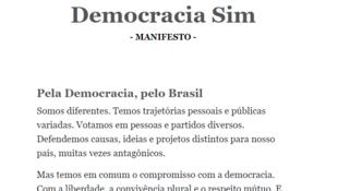 """""""Democracia Sim"""": manifiesto contra el candidato Jair Bolsonaro, firmado por cerca de 400 personalidades brasileñas."""