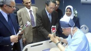 El ministro de turismo egipcio Hisham Zaazou (izquierda) y el cónsul de Corea en Egipto, Lim Wan Shun (centro), saludan a uno de los heridos en el atentado, hospital de Sharm El Sheik, 17 de febrero de 2014.