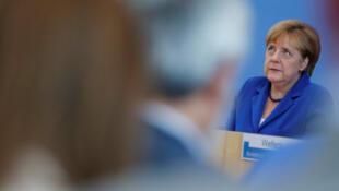 德国总理默克尔2016年7月 28日在柏林的记者会上。