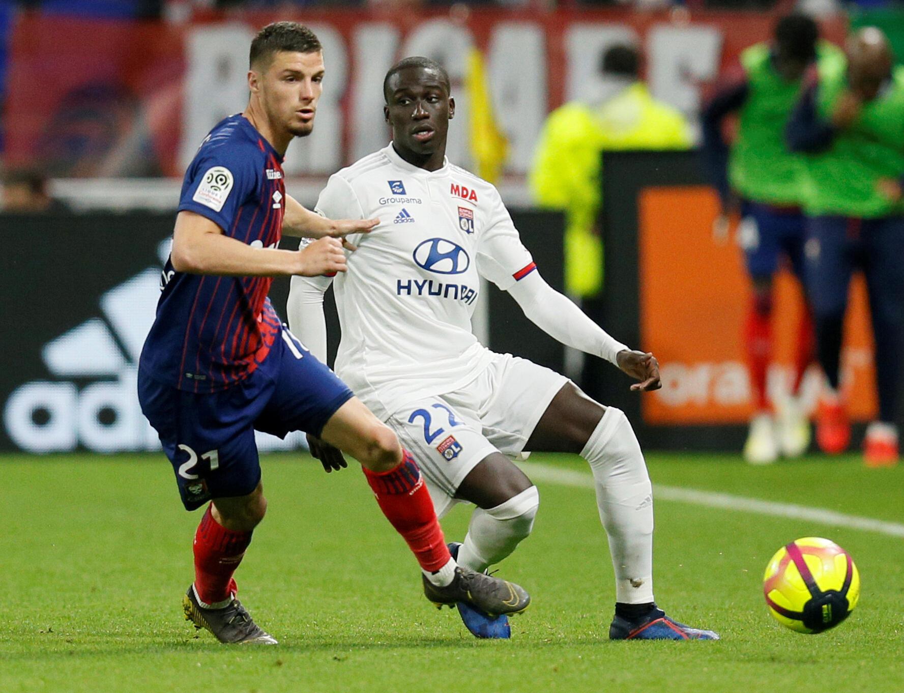 Ferland Mendy sous le maillot de Lyon contre Caen, le 18 mai 2019.