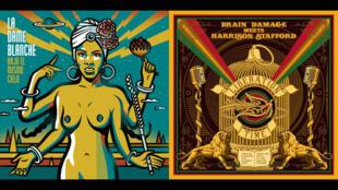 "La Dame Blanche CD ""Bajo El Mismo Cielo"" (à gauche), Brain damage meets Harrison Stafford CD ""Liberation Time"" (à droite)."