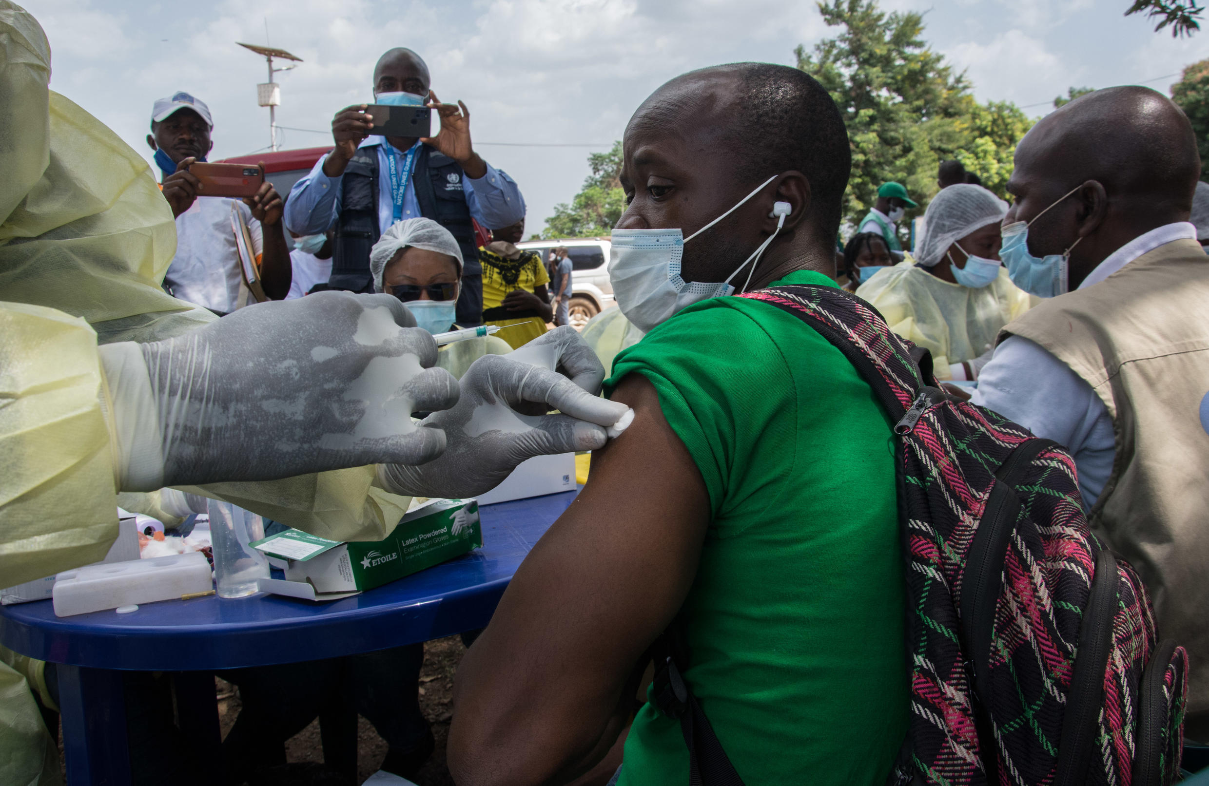 Volunteers have come forward in Guinea for the country's first Ebola vaccinations