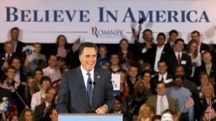 O republicano Mitt Romney diante de seus partidários em Michigan, Estados Unidos, na terça-feira.