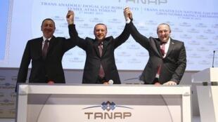 Le président Erdogan (au centre) pose avec ses homologues Ilham Aliev d'Azerbaïdjan (à gauche) et Guiorgui Margvelashvili, président de Géorgie, lors de l'inauguration du chantier du gazoduc Tanap, le 17 mars 2015.