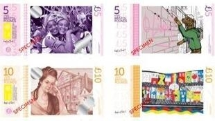 Bristol Pounds £B5 and £B10 notes, showing St Pauls Carnival and Hannah More.