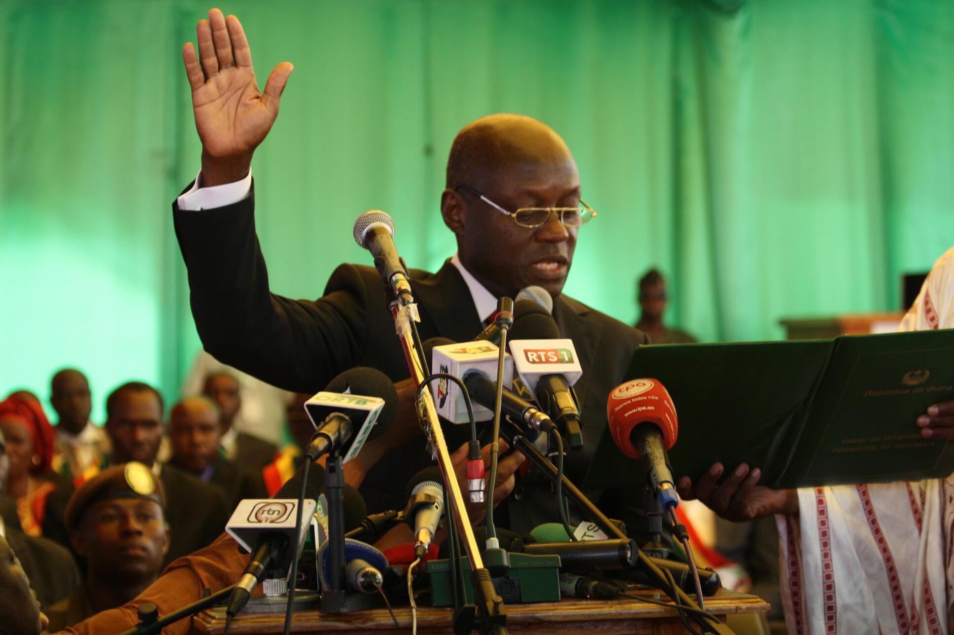 José Mário Vaz, o novo presidente da Guiné-Bissau aquando da sua tomada de posse a 23 de Junho de 2014.