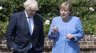 英國首相約翰遜 Boris Johnson 接待到訪的德國總理默克爾 Angela Merkel