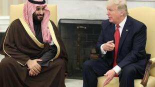 دونالد ترامپ رئیس جمهوری آمریکا و محمد بن سلمان ولیعهد عربستان