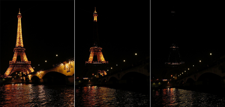 អគារTour Eiffel ពន្លត់ភ្លើង៥នាទីដើម្បីចូលរួមក្នុងយុទ្ធនាការពន្លត់ភ្លើងមួយម៉ោងដើម្បីផែនដីនៅថ្ងៃសៅរ៍ទី ២៥ មីនា ២០១៧