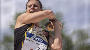 Mélina Robert-Michon durant les Championnats de France d'athlétisme en 2019.