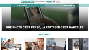 La page d'accueil du site «Non au harcèlement» mis en place par le gouvernement.