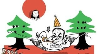 法國漫畫家普朗圖(PLANTU)描述日本法官望着逃走的戈恩無可奈何            2020年1月1日