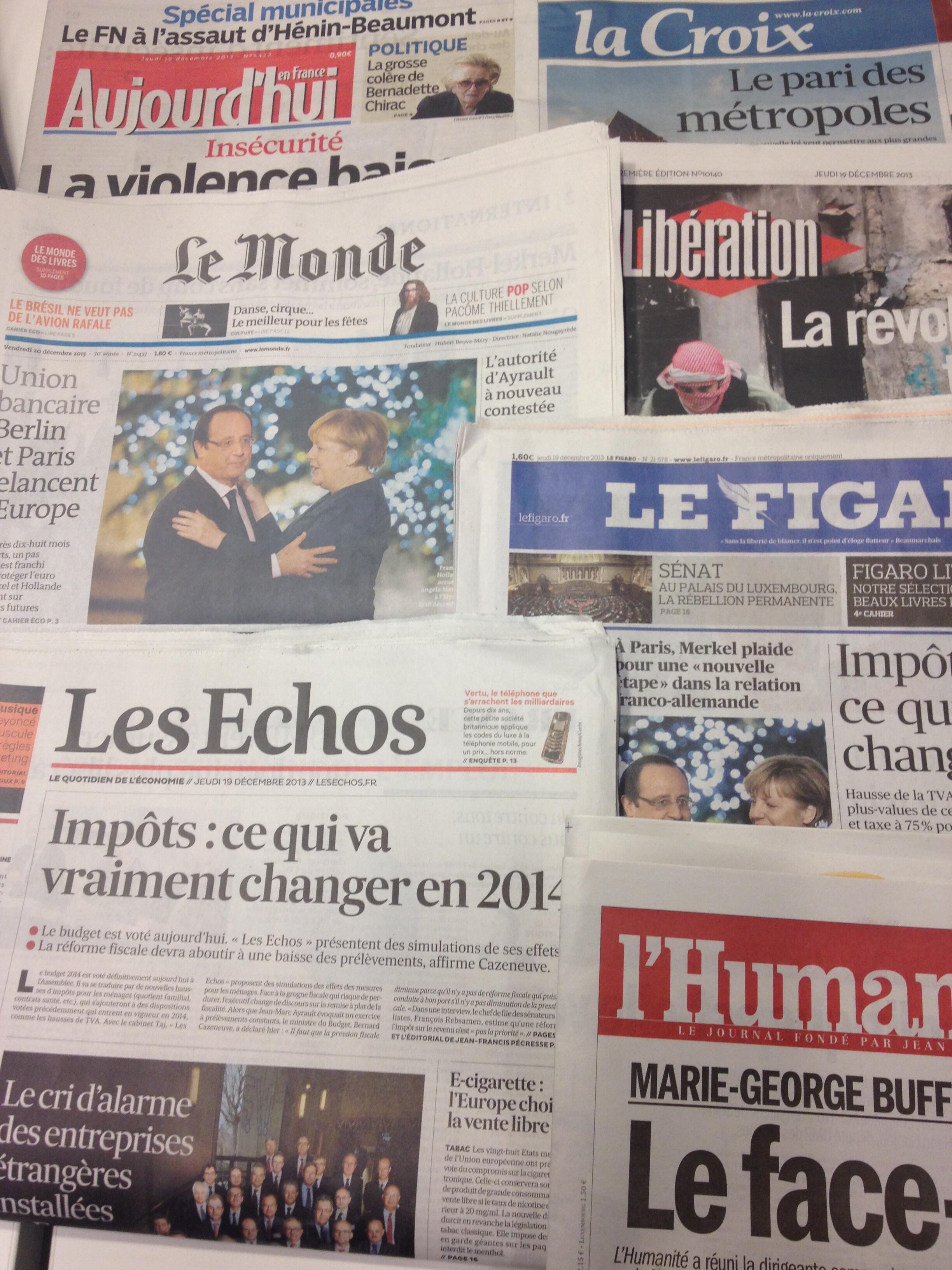 Primeiras páginas diários franceses 19/12/2013