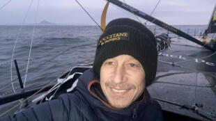 """Le navigateur français Armel Tripon, à bord de son monocoque """"Imoca 60 L'occitane"""", lors de la 9e édition du Vendée Globe, le 6 janvier 2021"""