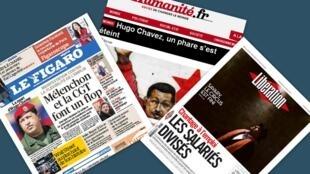 Capa dos jornais franceses Le Figaro e Libération e manchete do site de l'Humanité sobre a morte do presidente venezuelano Hugo Chávez, nesta quarta-feira 6 de março.