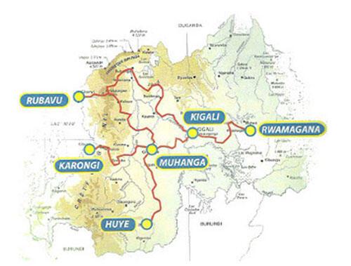 Carte des étapes du Tour du Rwanda 2011.